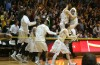 Valparaiso teammates celebrate winning the Horizon League tournament championship.