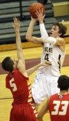 Chesterton's Matt Holba shoots over Andrean's Daniel Keilman 