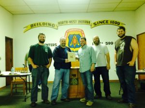 Construction Technology class presents Local 599 with plaque