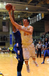 Valparaiso's Alec Peters drives for a layup Saturday against St. Louis.