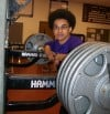 Austin Jamerson, leaning  on weights