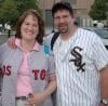 "Dualing ""Sox"" Fans Monica Lowe and her husband, Mark Potis of Valparaiso"