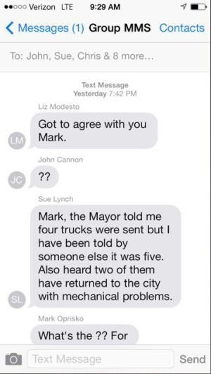View texts between Portage officials