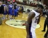 Merrillville senior B.J. Jenkins shows his disappointment after Merrillville's 66-36 loss to Carmel in the Class 4A Lafayette Jefferson Semistate championship.