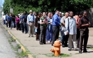 Just before big election, jobless rate drops