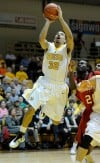 Valparaiso Crusaders guard Brandon Wood shoots over Youngstown State