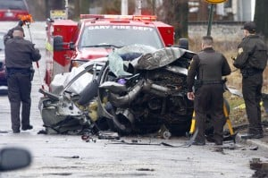 Two men dead after their car hits two trees during police pursuit in Gary
