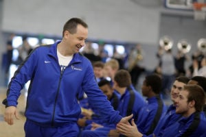 Lake Central high-fives boys hoops team ahead of state finals