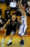 Griffith's Anthony Quintero drives the baseline