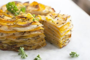 Layered vegan vegetable tart delivers big flavors