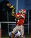 T.F. South Efe Ovie makes an acrobatic catch in the second quarter of Saturday night's game against Crete-Monee