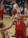 Portage's Kaitlyn Steers tries to get the ball from Crown Point's Hannah Albrecht and Katie Howarth during Tuesday's opening round of the Class 4A Hobart Sectional.