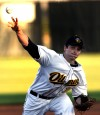 Oilmen starting pitcher Andy Wellwerts throws against the Southland Vikings during the Midwest Collegiate League championship series Saturday.