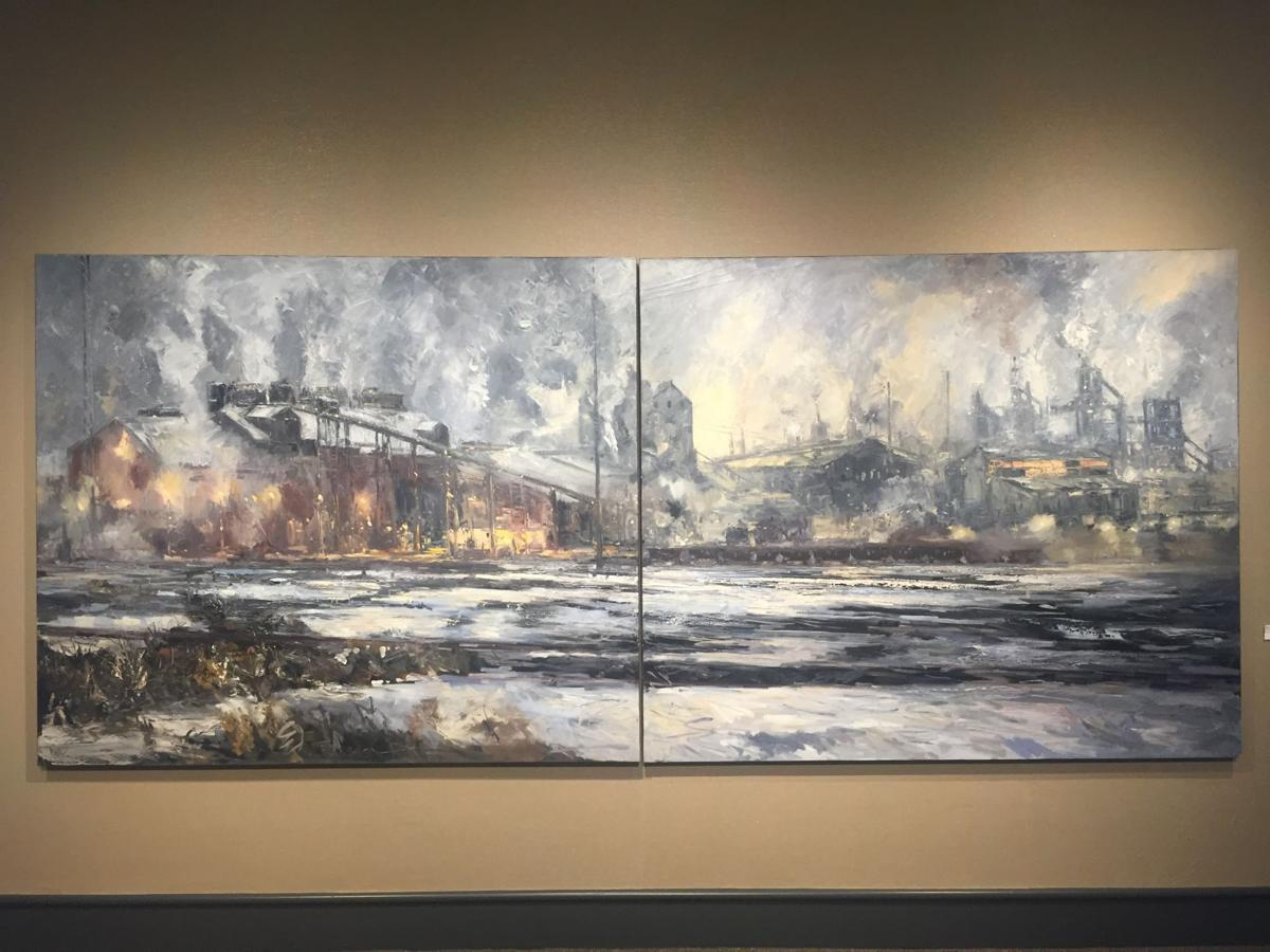 Sand steel exhibit features landscapes that define for Define mural art