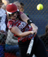 T. F. South's Sarah Kessler gets an RBI against Illiana Christian in the second inning Friday.