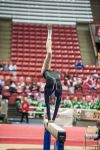 Merrillville's Kristina Goodman flips around on the balance beam Saturday afternoon at the state gymnastics meet.