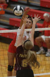 Crown Point's Alaina Chacon spikes over Chesterton's Aubrey Nagdeman