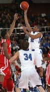 Lake Central's Joe Bannister shoots against Morton in the Class 4A West Side Sectional on Friday.