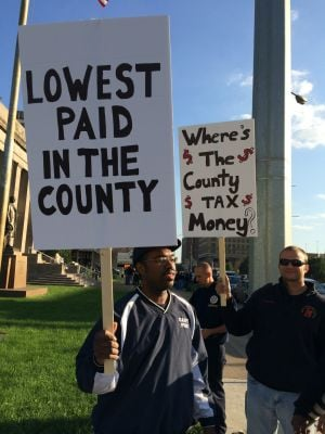 Gary police and firefighters rally for higher wages