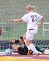Chesterton's Savannah Watson scores game's initial goal during the Trojans' win over Valparaiso on Tuesday night.