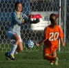 Wheeler's Lauren Fratzke scores against Washington Township goalie Corie O'Connor during Tuesday night's Class A Wheeler Sectional.