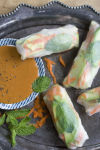 A fowl take on fresh spring rolls and peanut sauce