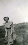 Betty Vendl of San Pierre in Farm Garden Potato Patch in 1943