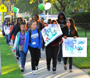 Lansing celebrates International Walk to School Day