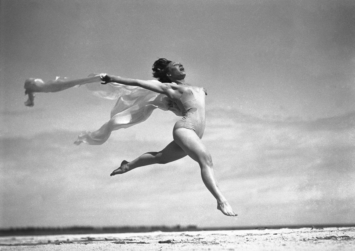 sally rand dances on a beach in st petersburg florida on feb 17