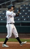 RailCats first baseman Adam Humes celebrates