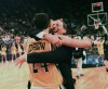 Valparaiso's head coach Homer Drew hugs his son, Bryce Drew