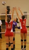 Hobart's Grayce Roach and Crown Point's Natasha Van Gilder and Zarah Cecich