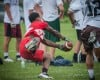 T.F. South's Efie Ovie makes an acrobatic catch Saturday during the 7 on 7 tournament at Richards.