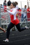 T.F. South runner Kelli Herlitz sprints in the 100 dash