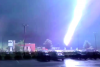 Close call with lightning caught on camera