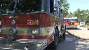 Fire crews battle garage blaze