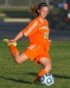 Wheeler's Lauren Fratzke kicks the ball during Tuesday's game at the Class A Wheeler Sectional.