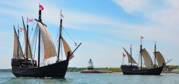 Columbus ships sail into the region