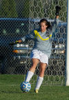 Washington Twp's Corie O'Connor attemps a goal kick during the Class A Wheeler Sectional on Tuesday night.