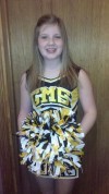 Griffith's Becca Carpenter, 13, is cheering on her teams