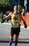 Jeff Mescal of Lowell won the inaugural Dawn of the Dunes Marathon on Sunday morning.
