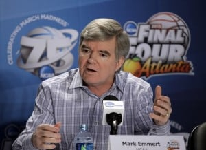 Emmert defends record during contentious briefing