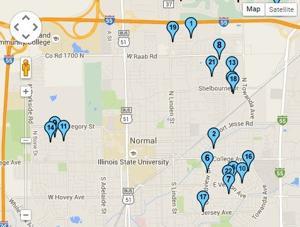 Map: Normal garage sales