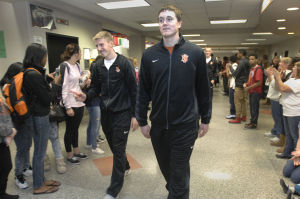 Photos: NCHS Ironmen leave for IHSA tournament