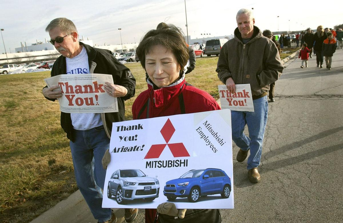 Supporters gather at mmna to say goodbye good luck for Mitsubishi motors bloomington il
