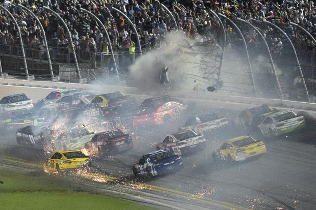 Earnhardt wins rain-delayed Daytona ahead of Dillon's crash