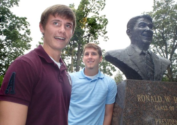 Reagan Fellows Joshua Matzke, left, and Cody Leach visit the Reagan Memorial Peace Garden
