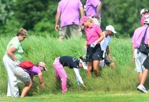 LPGA: Anna Nordqvist (right) helps Chie Arimura (center) search for her ball in the high grass on the 9th hole. It was not found. Sunday June 2 2013 LPGA ShopRite Classic at Seaview Resort in Galloway. Final Day. (The Press of Atlantic City / Ben Fogletto)  - Ben Fogletto