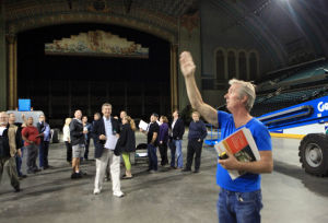 Miss America Planning: John Hawkisn, lighting director, talks about the layout of the venue during a meeting of Miss America Organization personal and the production crew as they prepare for the Miss America Pageant inside Boardwalk hall in Atlantic City, Friday, June 14, 2013.  - Photo by Vernon Ogrodnek