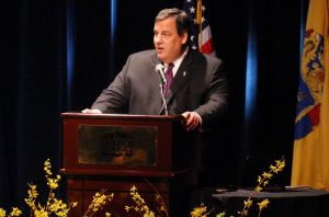 Tourismconference: New Jersey Gov. Chris Christie speaks at 2013 New Jersey Conference on Tourism at at Golden Nugget Showroom Wednesday.  - Edward Lea